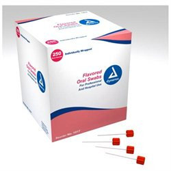 Dynarex 1217 Flavored Oral Swabsticks with Dentrifice - 4/250/Case