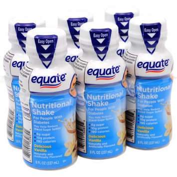 Equate Delicious Vanilla Nutritional Shake, 8 fl oz, 6 count