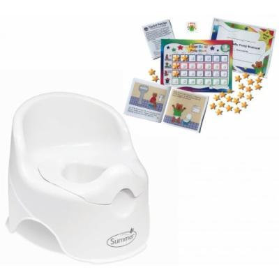 Summer Infant Lil' Loo Toddler Potty with Kenson Kids Potty Training Chart System, White