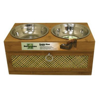 Our Pet's Our Pets Bamboo Bistro Double Dog Feeder with Drawer