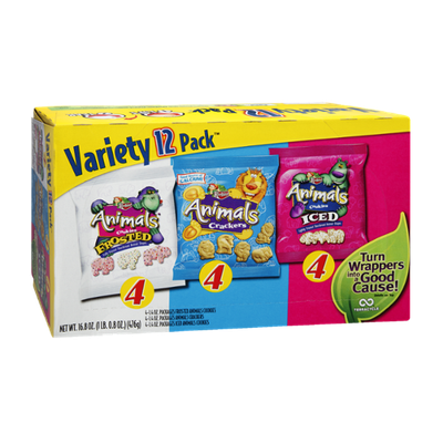 Keebler Variety Pack Animals Crackers, Frosted Animals Crackers and Iced Animals Crackers - 12 pack