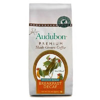 Audubon Premium Shade Grown Coffee Audubon Whole Bean Coffee, Decaf Breakfast Blend, 12 Ounce