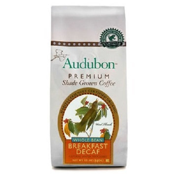 Audubon Premium Shade Grown Coffee Audubon Whole Bean Coffee, Decaf Breakfast Blend, 12 Ounce