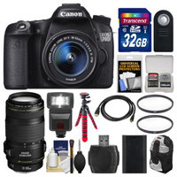 Canon EOS 70D Digital SLR Camera & EF-S 18-55mm IS STM Lens with 70-300mm IS Lens + 32GB Card + Backpack + Flash + Battery + Tripod + Kit