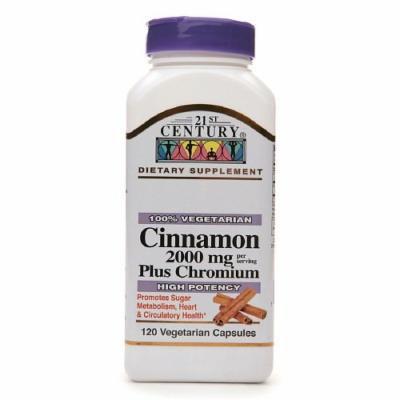 21st Century Cinnamon 2000 mg Plus Chromium, Veggie Capsules 120 ea