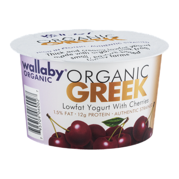Wallaby Organic Greek Lowfat Yogurt With Cherries