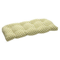 Pillow Perfect Outdoor Wicker Bench/Loveseat/Swing Cushion - Green/White Geometric