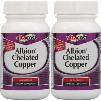 Vitacost Chelated Copper - Albion Copper Glycinate Chelate 2 Packs each of 60 Capsules