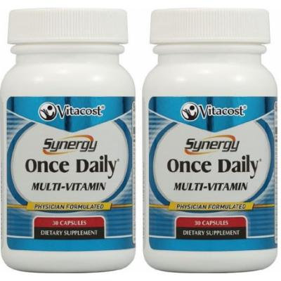 Vitacost Synergy Once Daily Multi-Vitamin -- 2 bottles each of 30 Capsules -- 60 Total