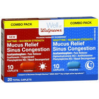 Walgreens Mucus Relief Sinus Congestion Day/Night Caplets, 20 ea