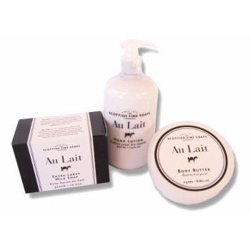 Au Lait Hand Lotion Pump 14. Oz. + Body Butter 8.8 Oz. + Extra Large Milk Soap 10.5 Oz.