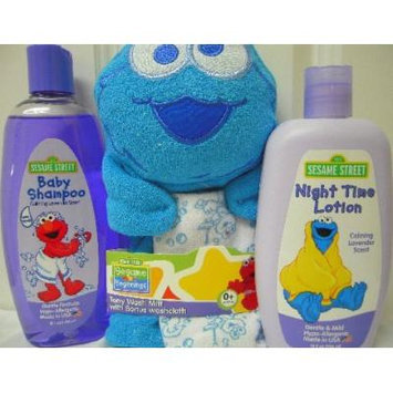 Sesame Street Baby Shampoo & Night Time Lotion (Both Calming Lavender Scent) with Sesame Street Terry Washing Mitt (Bonus Washcloth) Bundle