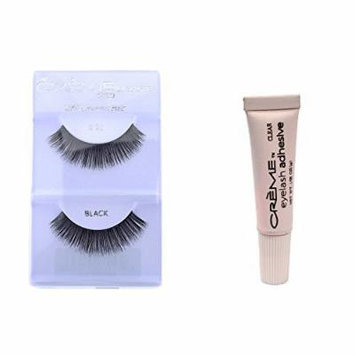 6 Pairs Crème 100% Human Hair Natural False Eyelash Extensions Black #20 Dark Full Lashes