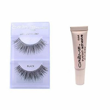6 Pairs Crème 100% Human Hair Natural False Eyelash Extensions Black #747L Long Full Natural Lashes