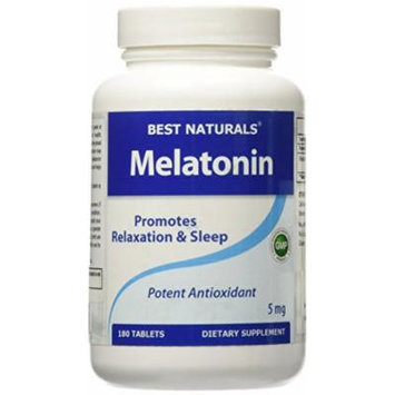Melatonin 5mg 180 Tabs -- Maximum Strength -- Fast Dissolved for early effectiveness -- All Naturals Sleep Aid Supplement -- Manufactured in a USA Based GMP Certified Facility and Third Party Tested for Purity. Guaranteed!!