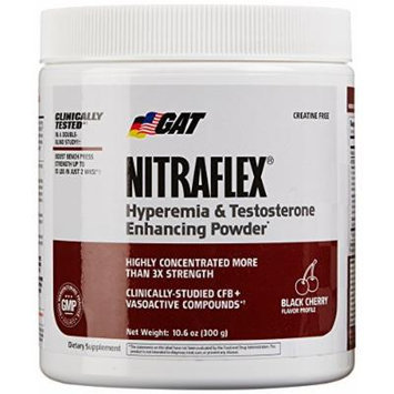 GAT Clinically Tested Nitraflex, Testosterone Enhancing Pre Workout, Black Cherry,300 Gram