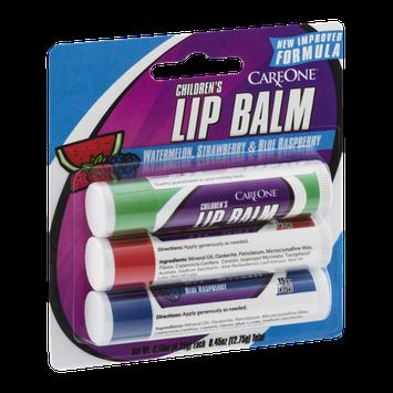 CareOne Children's Lip Balm Watermelon Strawberry & Blue Raspberry - 3 CT