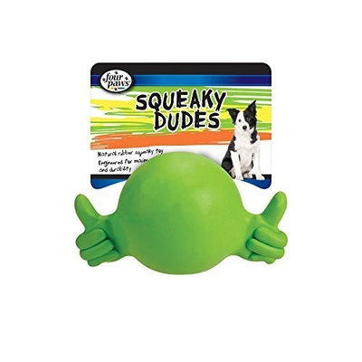 Four Paws Squeaky Dudes Thumbs up Medium Rubber Dog Chew Toy