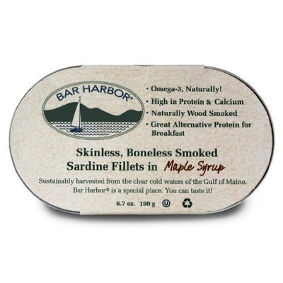 Bar Harbor Skinless Boneless Smoked Sardine Fillets In Maple Syrup, 6.7-Ounce (Pack of 6)