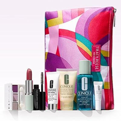 Clinique 8 Pcs Spring Skin Care & Makeup Gift Set with Tracy Reese Cosmetic Bag