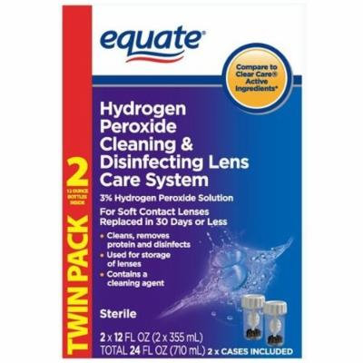 Equate Hydrogen Peroxide Cleaning & Disinfecting Lens Care System TwinPack, 2x12 Fl Oz, Compare to Clear Care