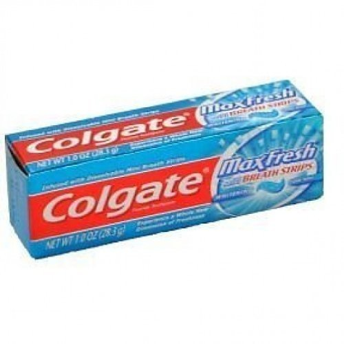Colgate Max Fresh Toothpaste, Fluoride, with Mini Breath Strips, Whitening, Cool Mint, 1 oz.