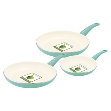 Green Pan GreenLife 3 Piece Ceramic Skillet Fry Pan Set - Turquoise