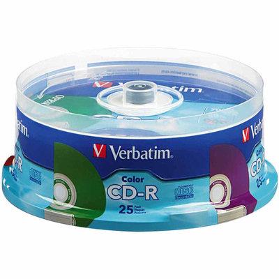 Verbatim CD R 80MIN 700MB 52X Colors 25 pack Spindle - VERBATIM CORPORATION