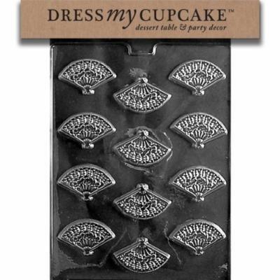 Dress My Cupcake DMCW029SET Chocolate Candy Mold, Fan Mints, Set of 6