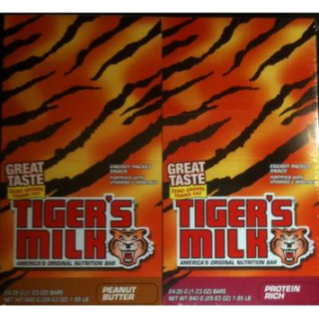Tiger's Milk 24 Ct 1.23 Oz Nutrition Bar. Includes 12 Protein Rich and 12 Peanut Butter Bars.
