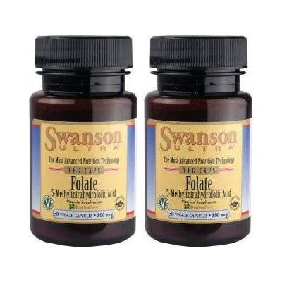 Folate (5-Methyltetrahydrofolic Acid) -- 2 Bottles -- each of 800 mcg 30 Veg Caps