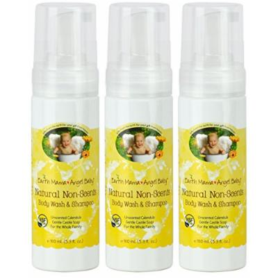 Earth Mama Angel Baby Non-Scented Shampoo and Body Wash, 3 Pack
