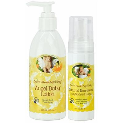 Earth Mama Angel Baby Non-Scented Shampoo and Body Wash with Body Lotion