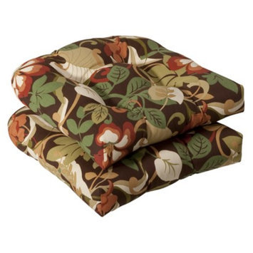 Pillow Perfect Outdoor 2-Piece Wicker Chair Cushion Set - Brown/Green Floral