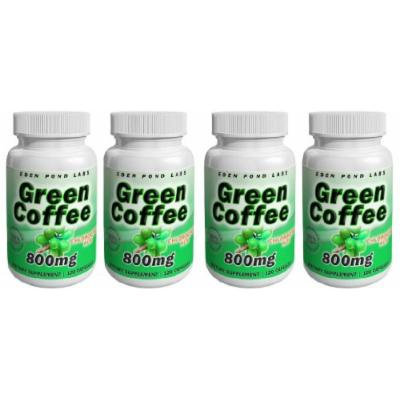 Eden Pond Green Coffee Supplement, 800mg, 120 Capsules, 4 Count