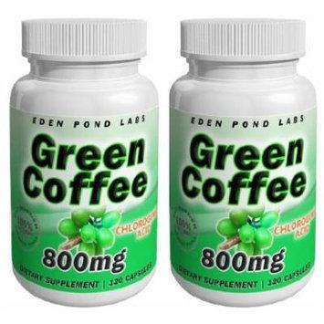 Eden Pond Wonder Fat Burner Green Coffee Capsules, 800 mg, 120 Capsules, 2 Count
