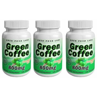 Eden Pond Green Coffee Supplement, 800 mg, 120 Capsules, 3 Count