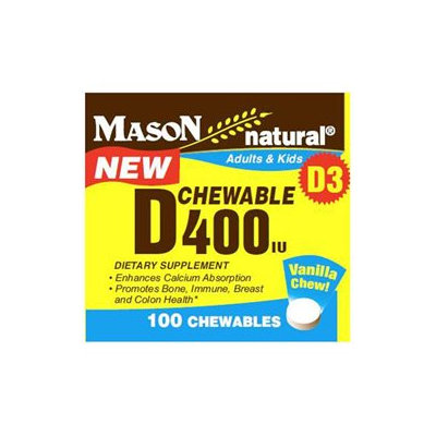 Mason Natural, Chewable Vitamin D 400 IU for Adults & Kids, 100 Chewables