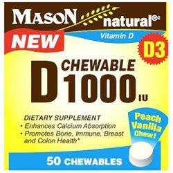 Mason Natural, Chewable Vitamin D 1000 IU, 50 Chewables