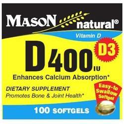 Mason Natural, Vitamin D 400 IU, 100 Softgels