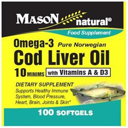 Mason Natural, Cod Liver Oil 10 Minims, 100 Softgels