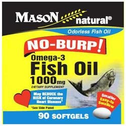 Mason Natural No Burp! Omega-3 Fish Oil, 1000mg, Small Softgels