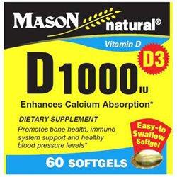 Mason Vitamins Vitamin D 1000 IU, 60 Softgels, Mason Natural