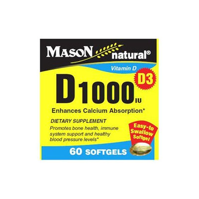 Mason Vitamins Vitamin D 1000 IU, 60 Softgels, Mason Natural