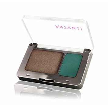 Vasanti Silky Eyeshadow Duo - Paraben Free (Lake Palace - Gunmetal Brown Shimmer / Matte Jewel Green)