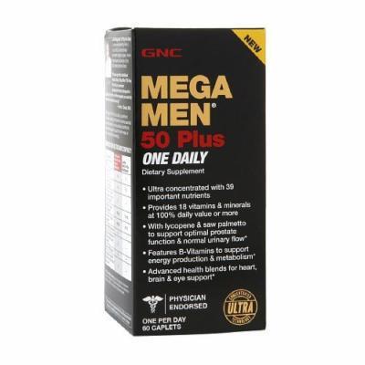 GNC Mens Mega Men 50 Plus One Daily Multivitamin, Caplets 60 ea