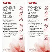 GNC Women's Hair, Skin & Nails Formula - 60 Count Caplets (2 Bottles each of 60 Caplets)