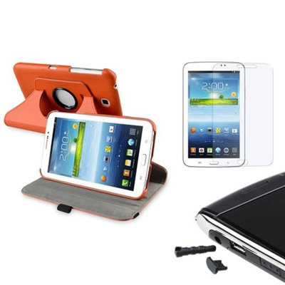 Insten INSTEN Orange 360 PU Leather Case+Anti-Glare Protector/Dust Cap For Samsung Galaxy Tab 3 7.0