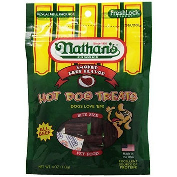Taste Of Nature Nathan's Famous Hot Dog Treats, All Beef, 4-Ounce Ziplock Bags (Pack of 4)