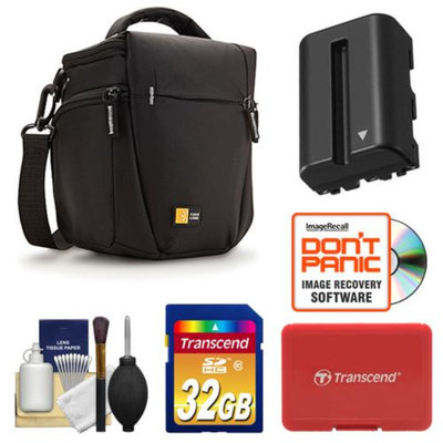 Case Logic TBC-406 Digital SLR Camera Holster Case (Black) with 32GB Card + NP-FM500H Battery + Accessory Kit for Sony Alpha A57, A58, A65, A77, A99